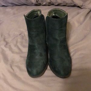 Dark green heeled booties